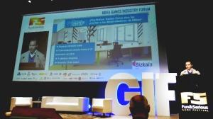 Roberto Yeste en la presentación del PlayStation Games Camp de Bilbao durante el Fun and Serious Game Festival